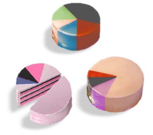 cakes with piechart frosting